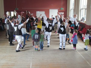 Cry Havoc running the Family Morris Dance Workshop at Oxford Folk Weekend 2014