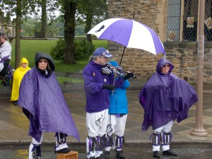 Musicians just love it when it rains, Durham.