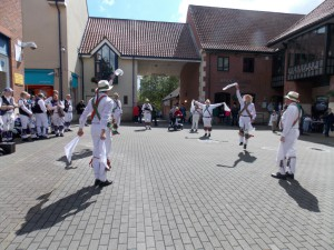 The sun shines on the Winchester Morris Men at Chippenham.