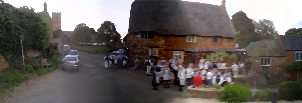 Oilified rendering of a scene at the Stag's Head, Swalcliffe.