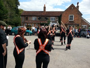 Makeney Morris from Belper, Derbyshire, at the Three Horseshoes during Towersey Festival.