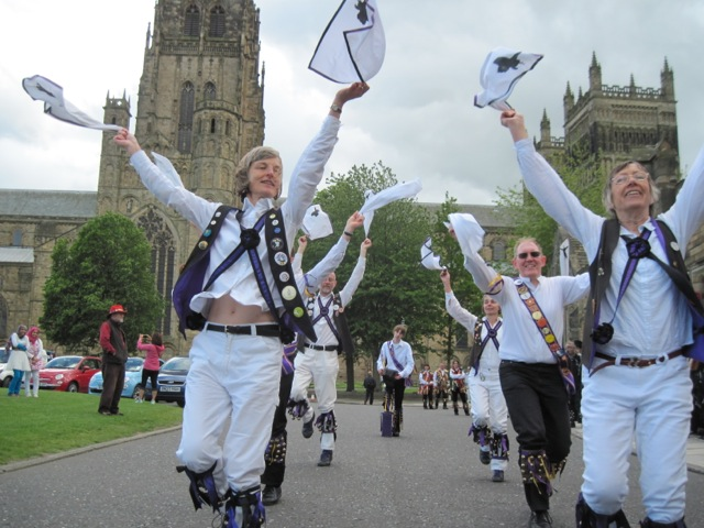 Dancing outside Durham Cathedral