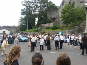 Leominster Morris outside Hay Castle.