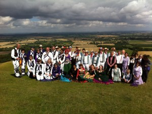 All sides dancing at the White Horse at Uffington.