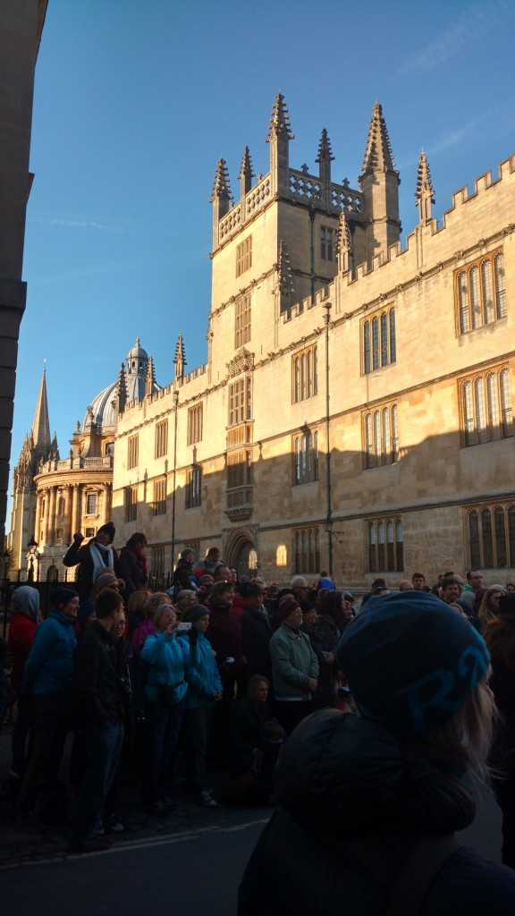 May morning crowds near the Bodleian.