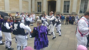 Dancing Young Collins on the steps of the Ashmolean after breakfast